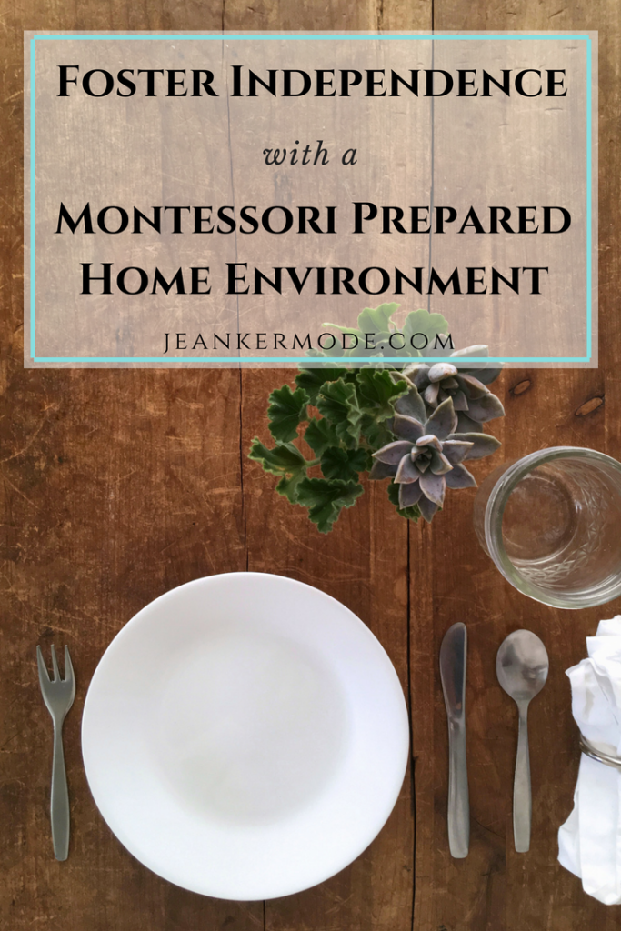 Foster independence with a montessori prepared home environment {shows a table set with children's dishes and a vase of succulents}