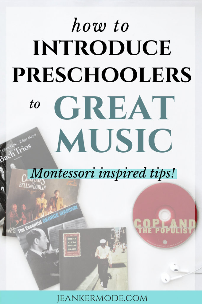 an image of several classical and folk ads, with text that says: how to introduce preschoolers to great music, Montessori inspired tips!